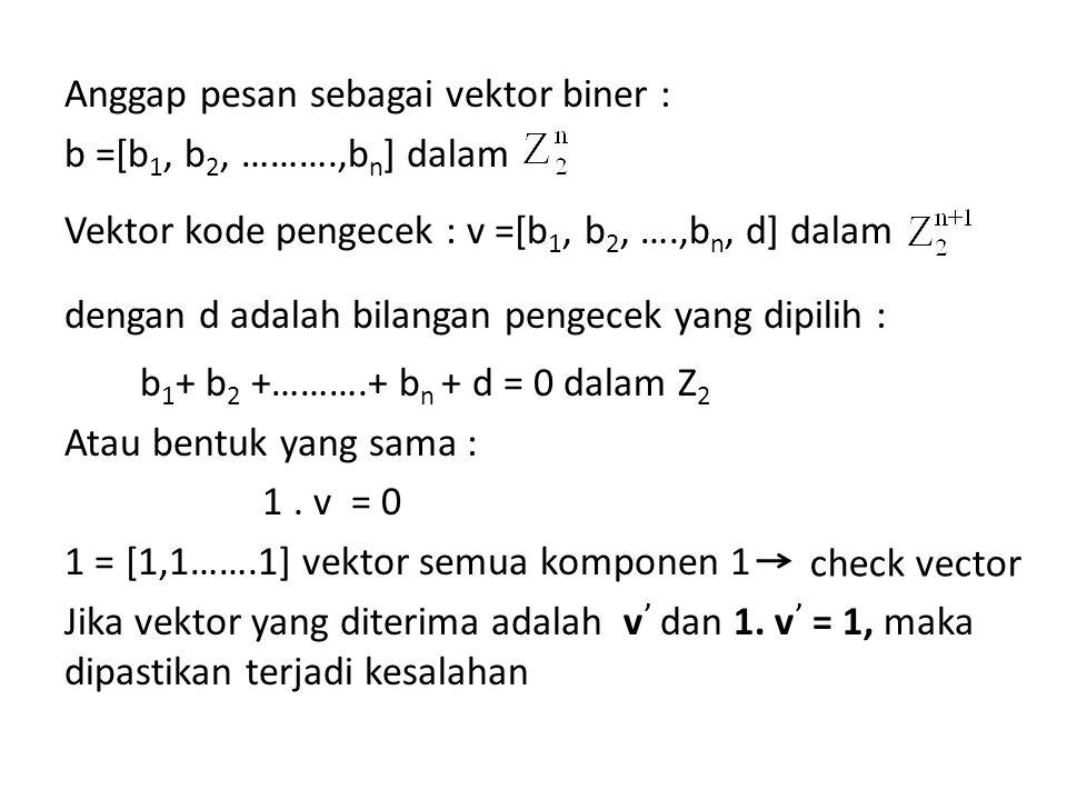 Anggap pesan sebagai vektor biner : b =[b1, b2, ………